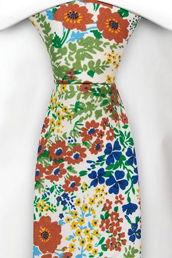 Bomull Slips, Gule, blå og rødbrune blomster på hvitt, Hvit, Blomstrete
