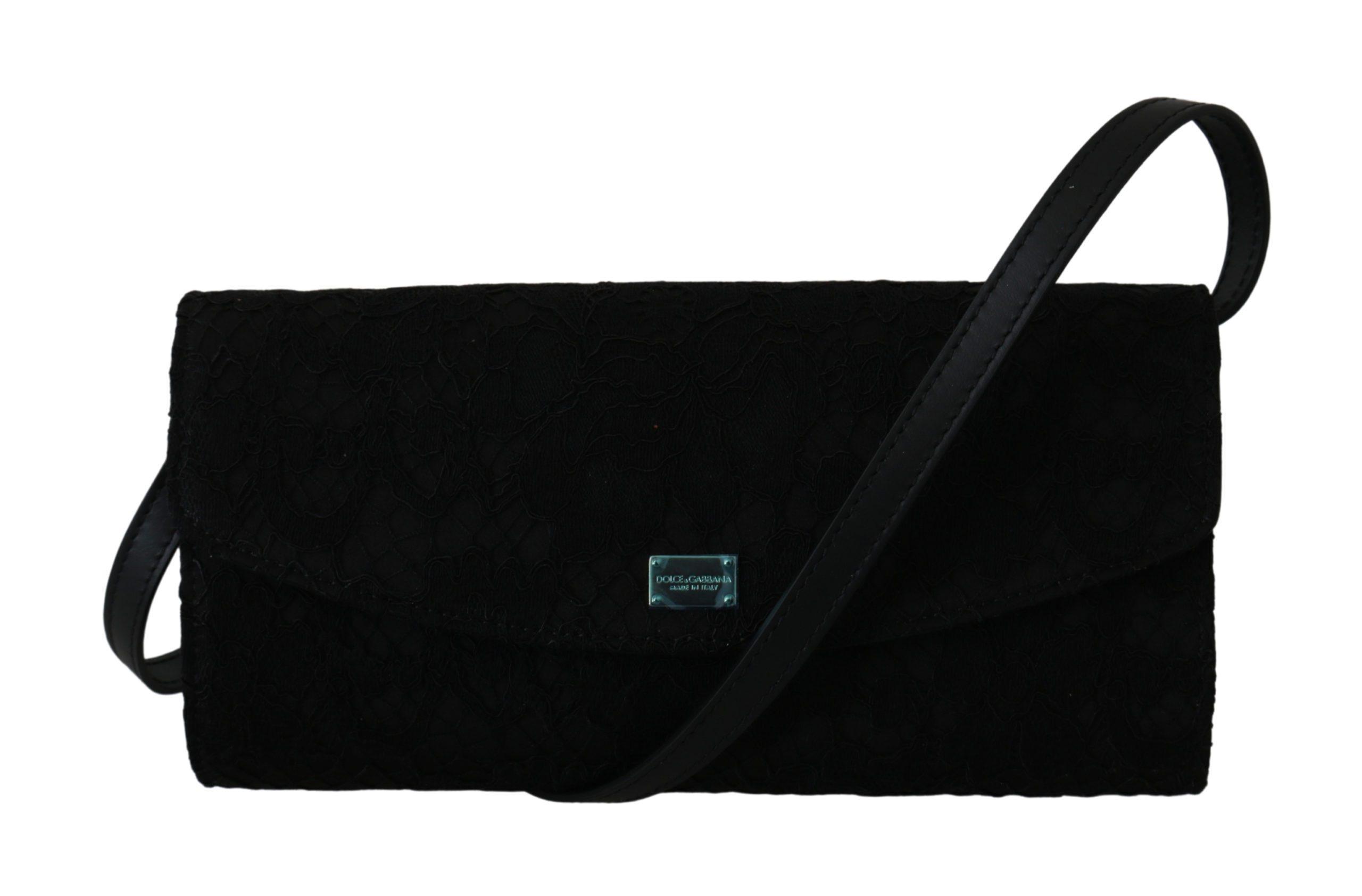 Black Floral Lace Evening Long Clutch Borse Cotton Bag
