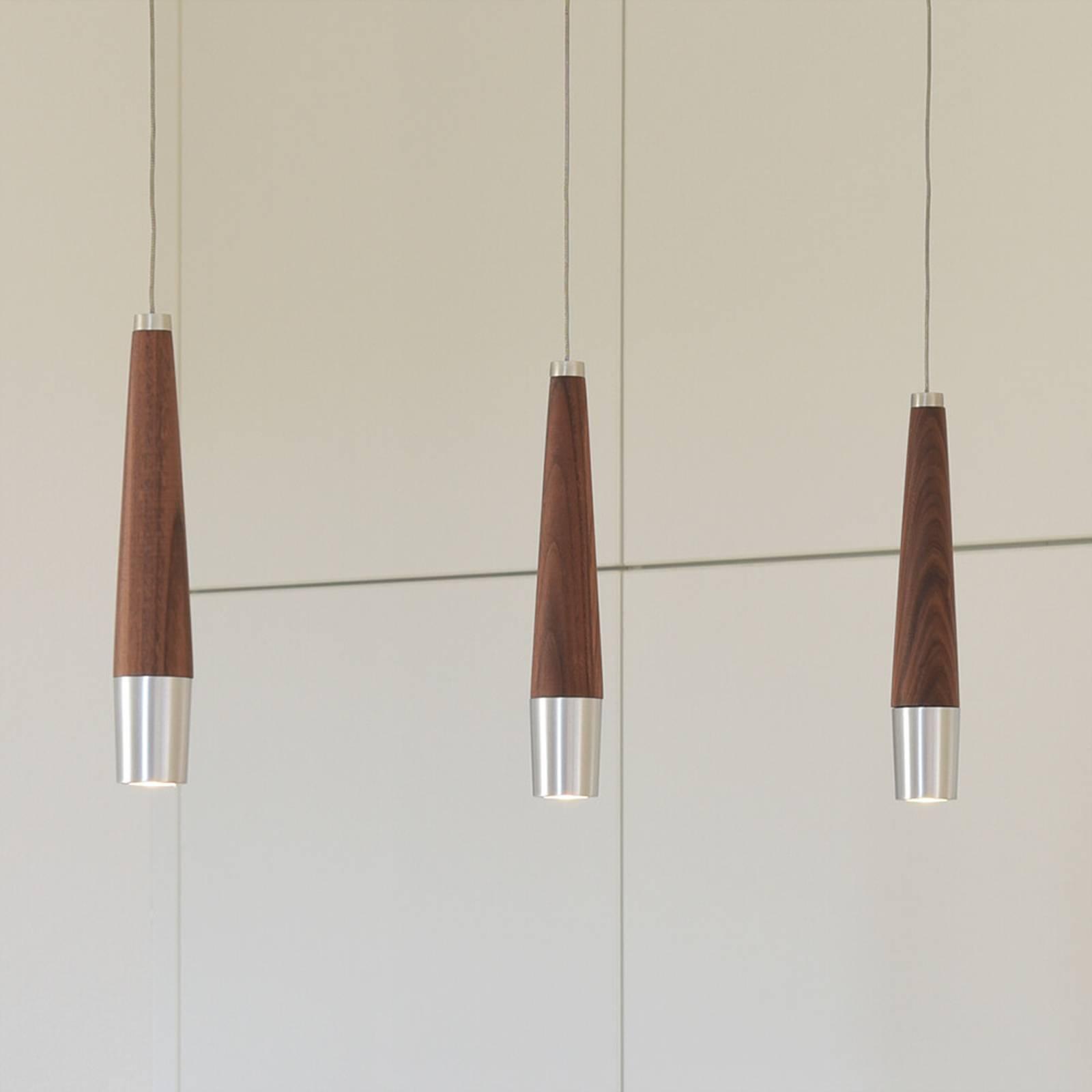 HerzBlut Conico -LED-riippuvalaisin, 3-lamppuinen