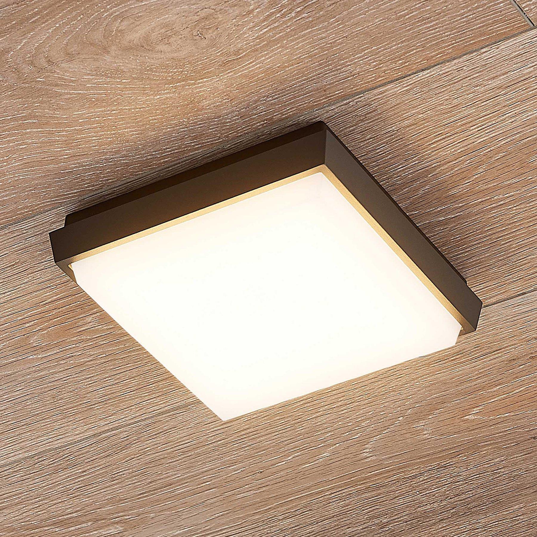Lucande Amra LED utetaklampe, kantet, 17,5 cm