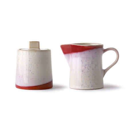 Ceramic 70's Melkekanne & Sukkerskål Frost