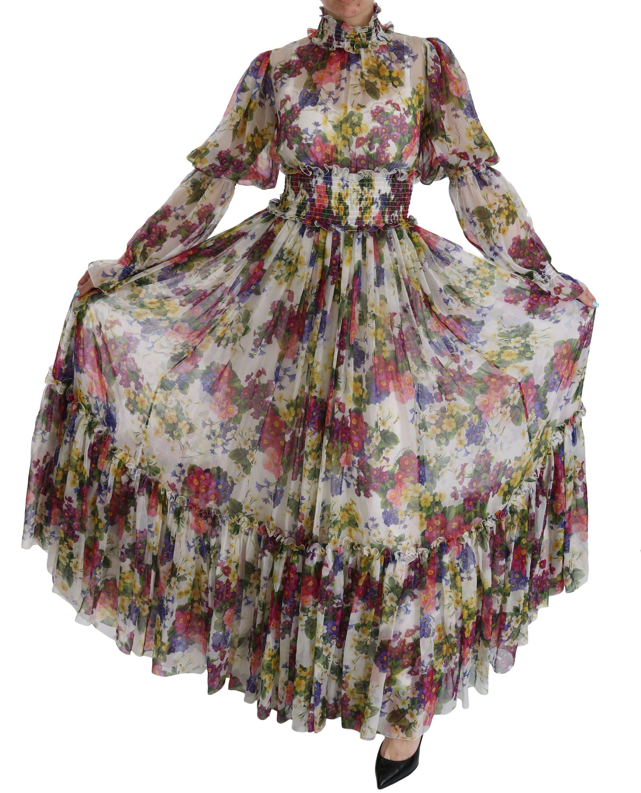 Dolce & Gabbana Women's Floral Silk Long Gown Dress Multicolor DR2082 - IT40|S