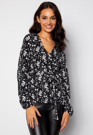 Happy Holly Amanda puff sleeve wrap top Black / Floral 32/34