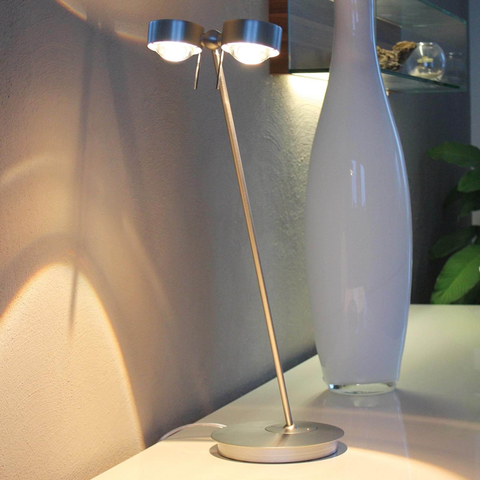 2-lamppuinen PUK TABLE -pöytävalaisin, matta kromi