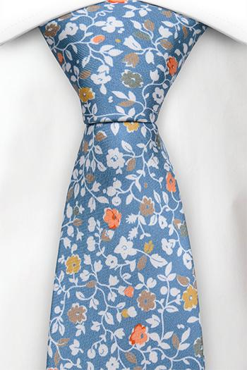 Silke Slips, Trykt blomstermønster på blå italiensk silke, Notch ANDREA