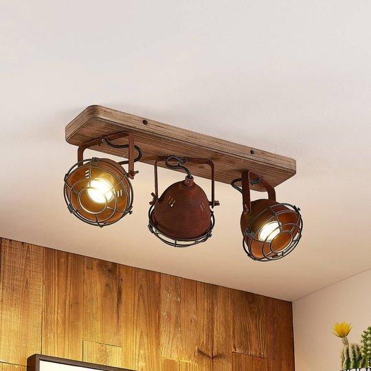 Lindby Farovi -kattokohdevalo ruoste 3-lamppuinen