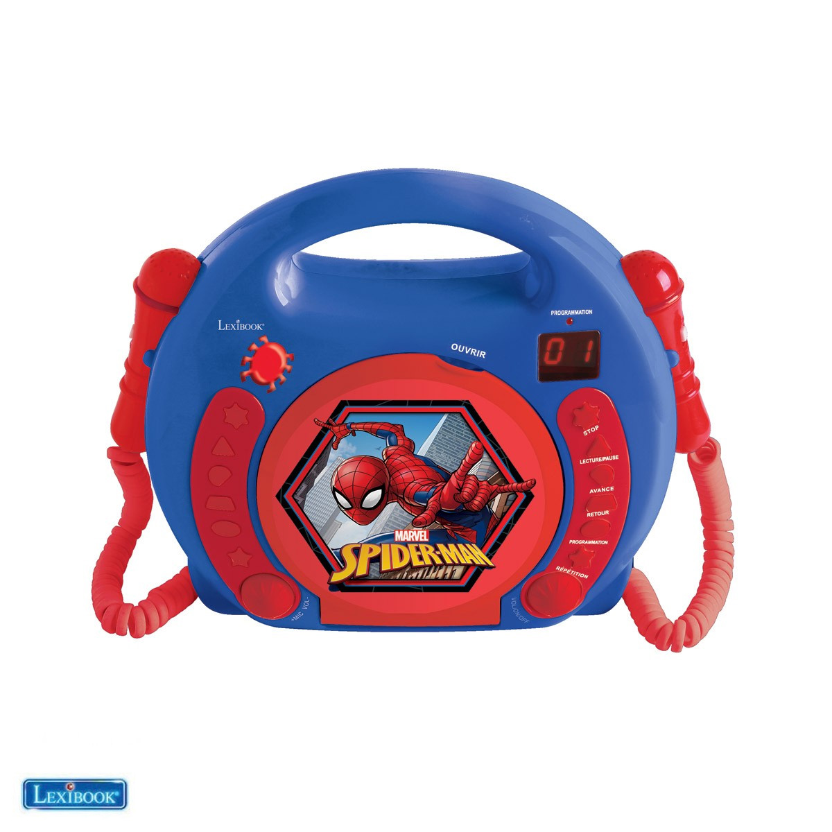 Lexibook - Spider-Man Portable CD player with 2 Sing Along microphones (RCDK100SP)