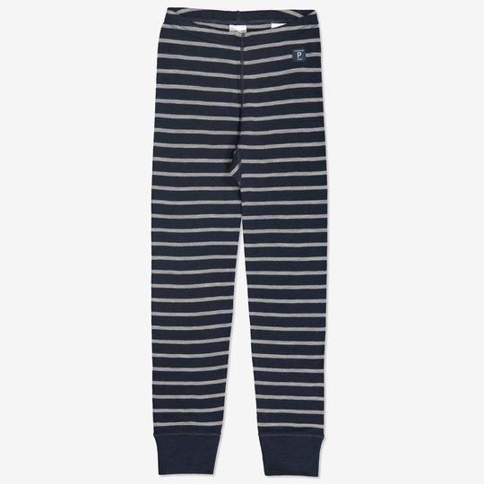 Merinoull stripet bukse mørkblå