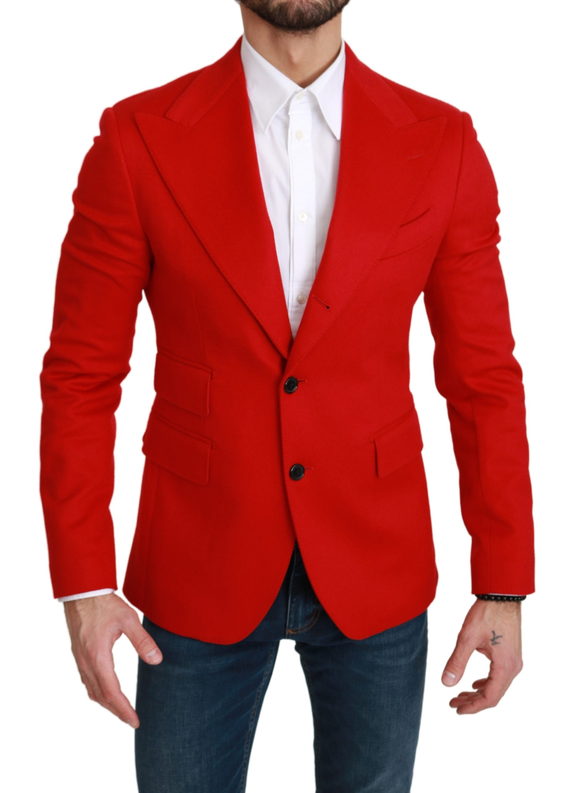 Dolce & Gabbana Men's Cashmere Slim Fit Coat Blazer Red KOS1744 - IT46 | S