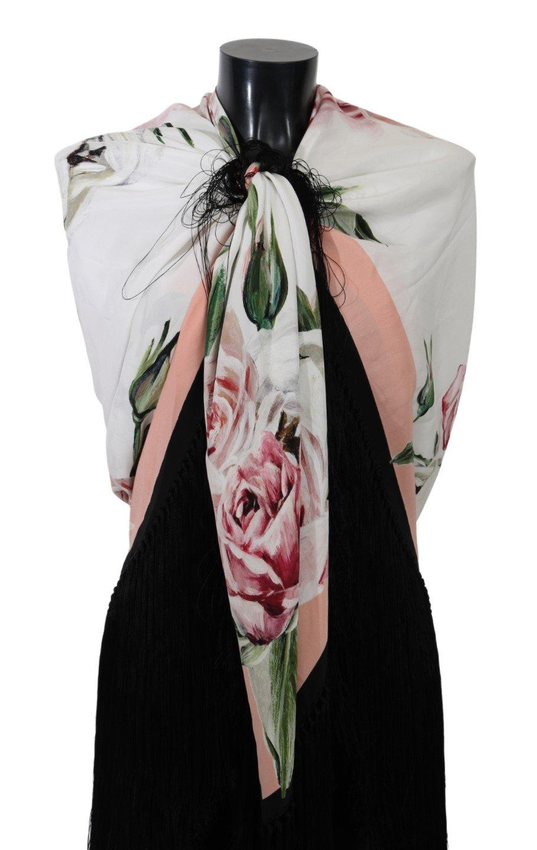 Dolce & Gabbana Women's Floral Print Wrap Shawl Silk Scarf White MS5555