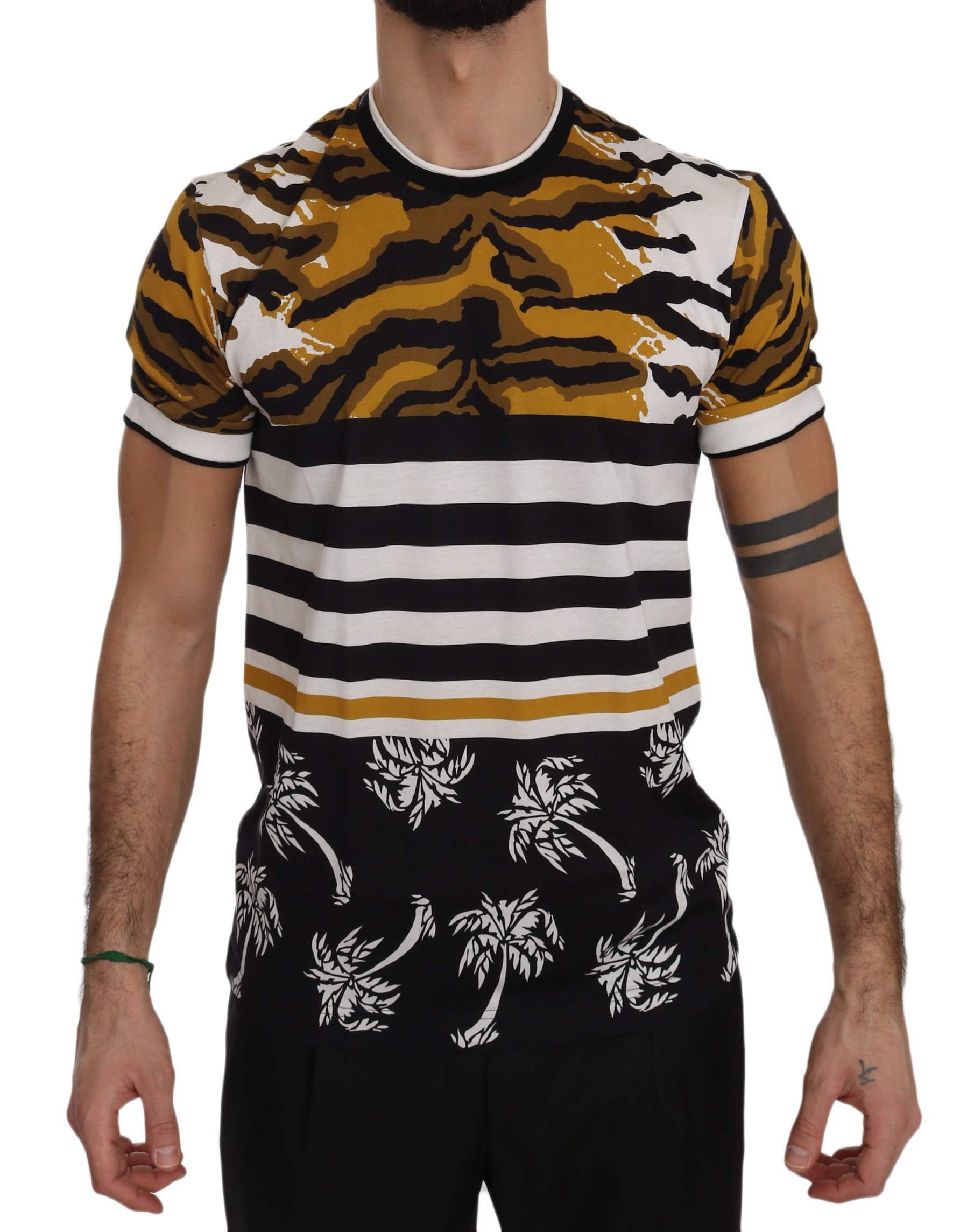 Dolce & Gabbana Men's Crewneck Palm T-Shirt Multicolor TSH3496 - IT46 | M