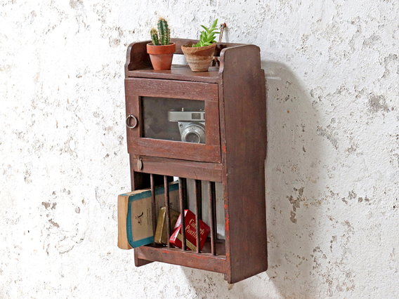 Rustic Cabinet With Rack Brown