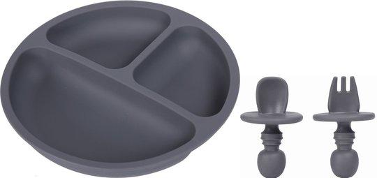Tallerken og Bestikk silikon, Dark grey