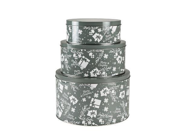 Funktion - Cake Tin Set 3 pcs - Grey/White (13398)