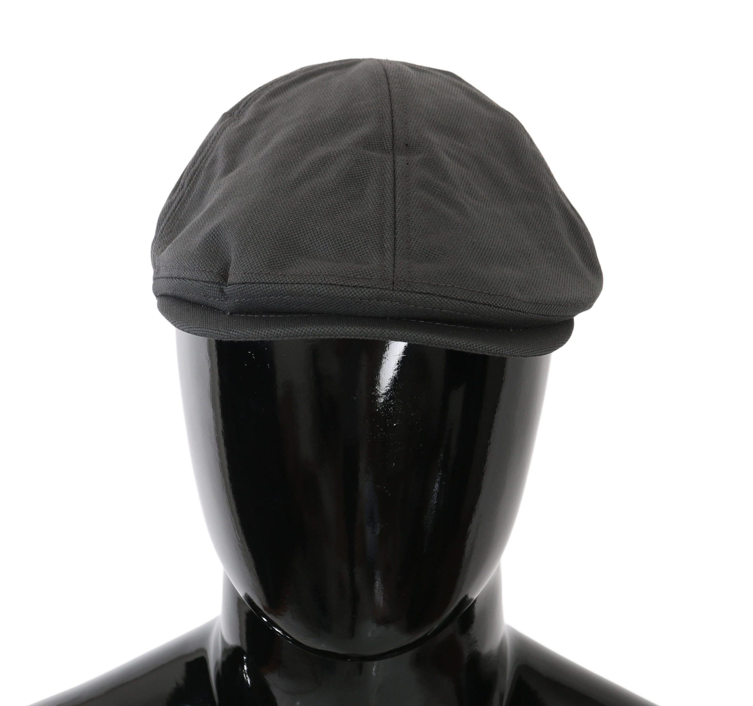 Dolce & Gabbana Men's Nylon Logo Newsboy Capello Hat Gray HAT81027 - 58 cm M