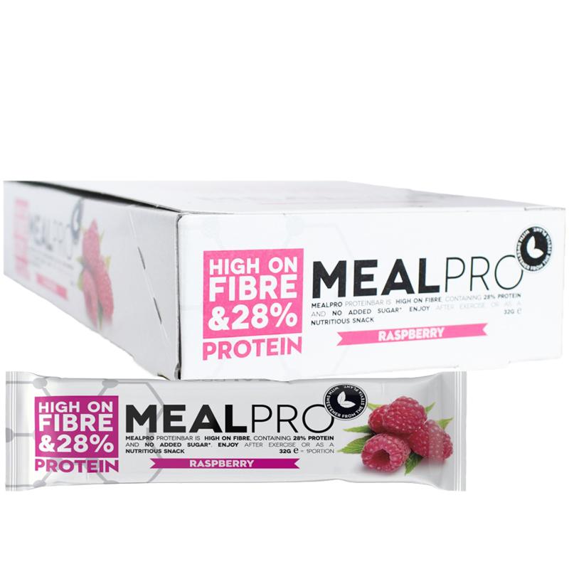 "Hel Låda Proteinbars ""Rapsberry"" 24 x 32g - 48% rabatt"
