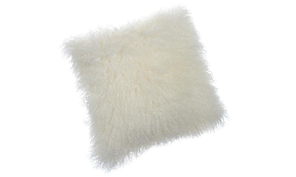 Shansi lammeskinnspute - hvit