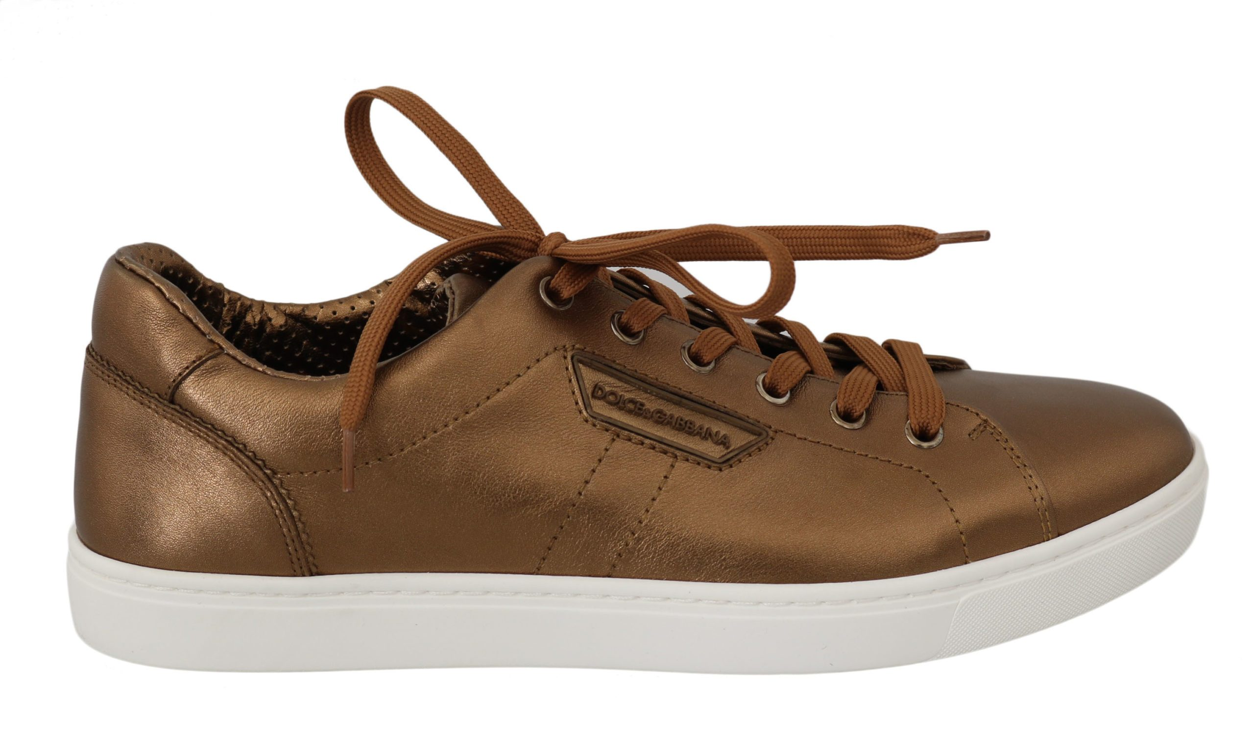 Dolce & Gabbana Men's Leather Casual Trainer Gold MV2363 - EU39/US6