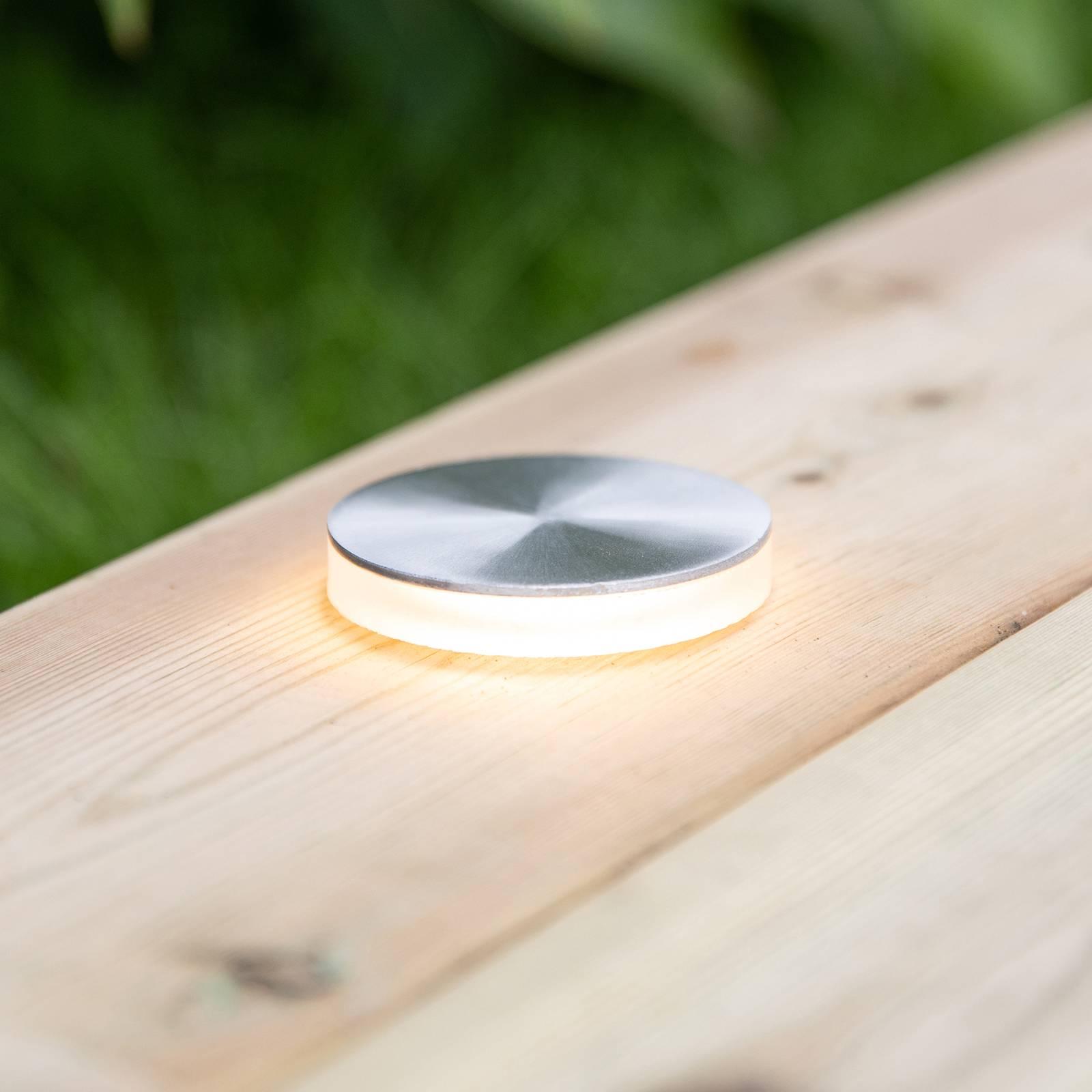 Garden 24 -LED-kattovalo hopea, valo sivulla, Ø6cm