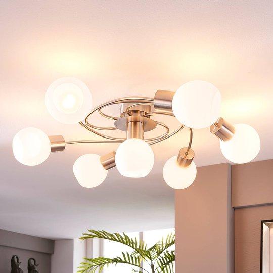 LED-taklampe Ciala, 7 lyskilder, nikkel
