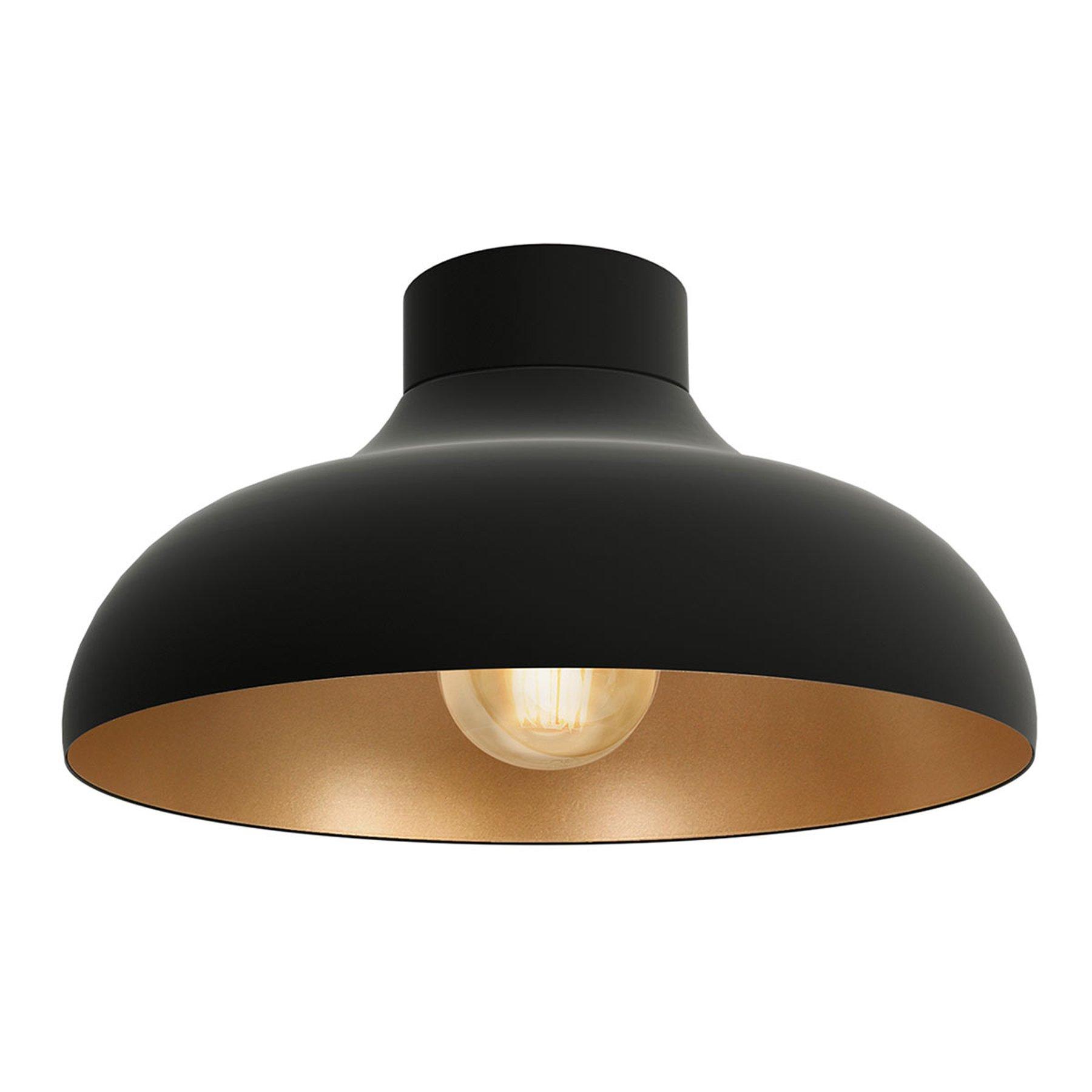 Basca taklampe, svart utvendig, kobber inni