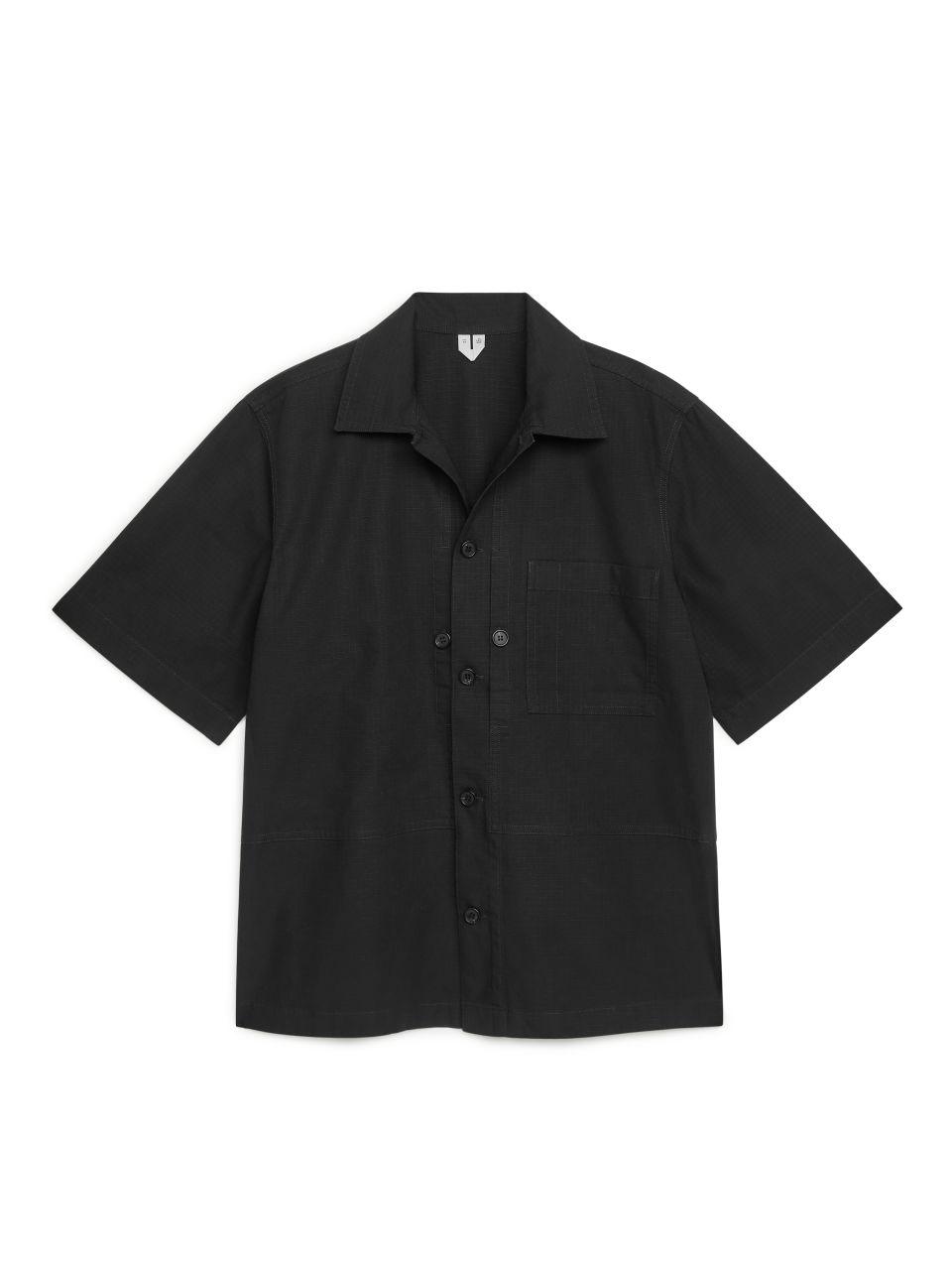 Short Sleeve Ripstop Overshirt - Black