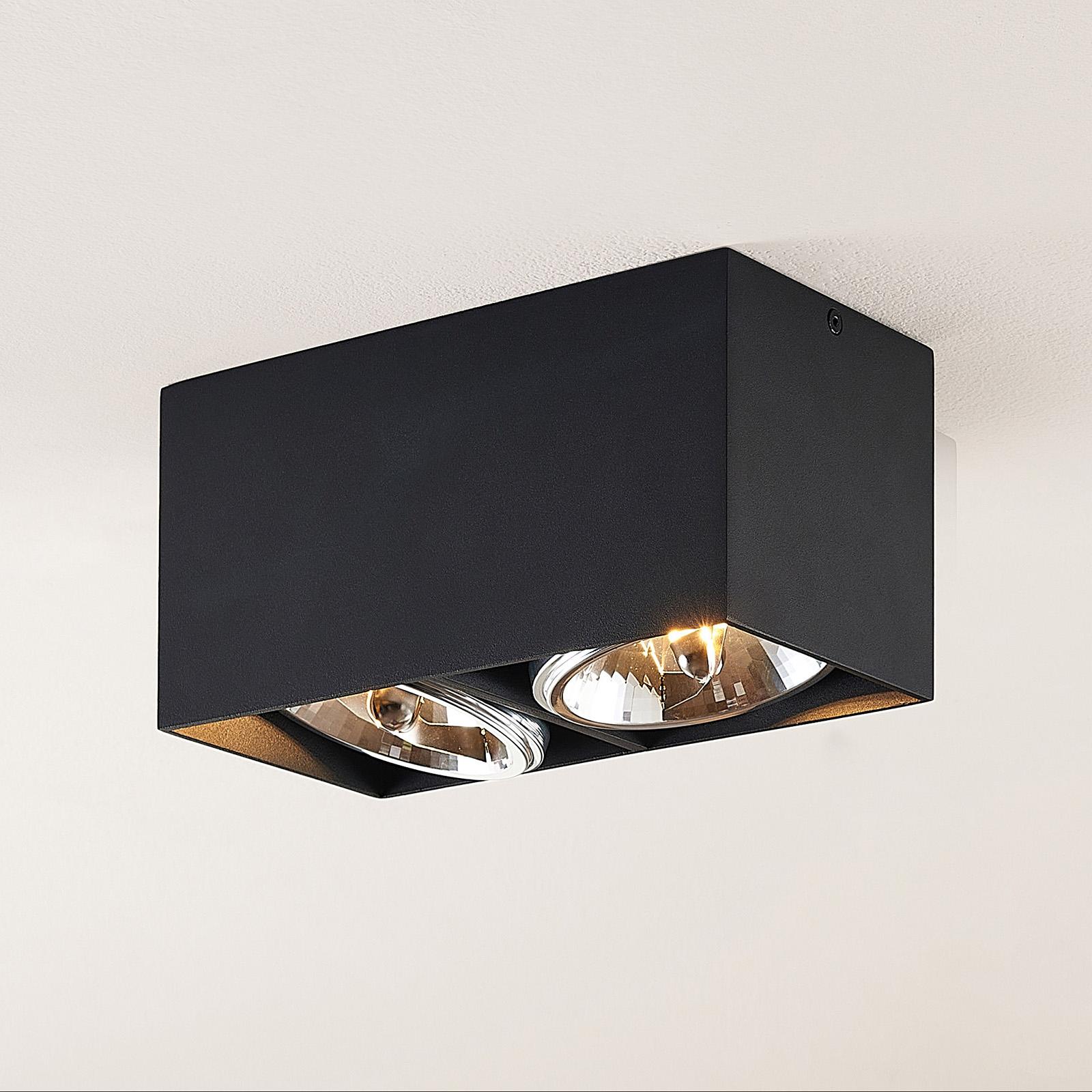 Arcchio Jarle -kattovalaisin, 2-lamp., musta