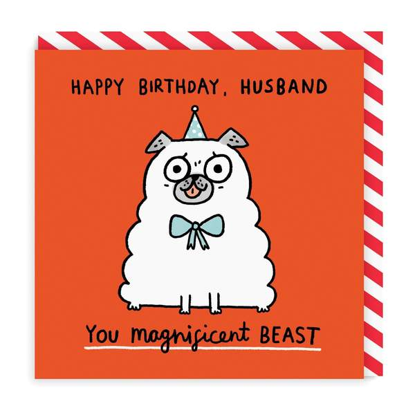 Husband Magnificent Beast Square Birthday Greeting Card