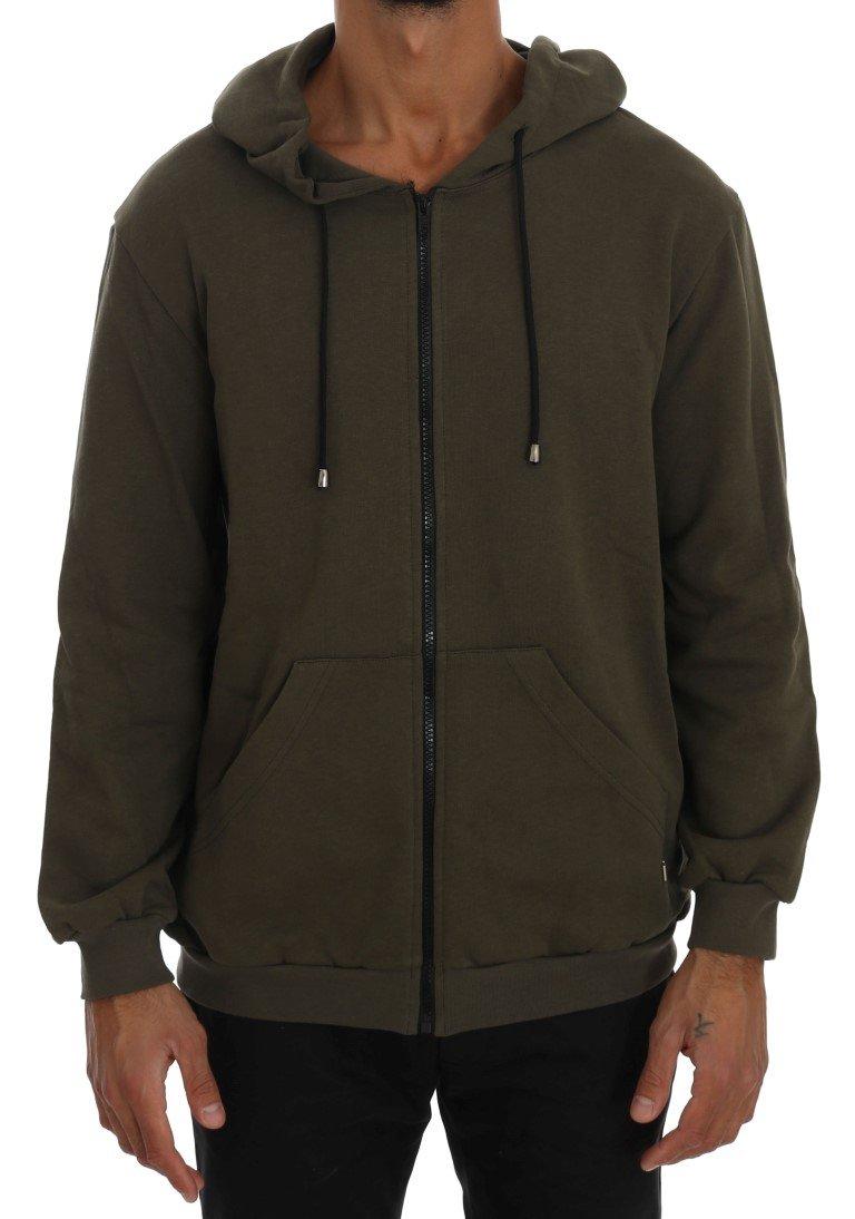 Daniele Alessandrini Men's Full Zipper Hodded Cotton Sweater Green TSH1345 - L
