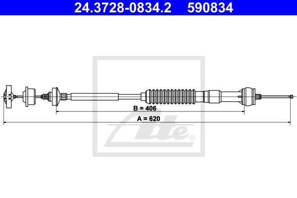 Kytkinvaijeri ATE 24.3728-0834.2