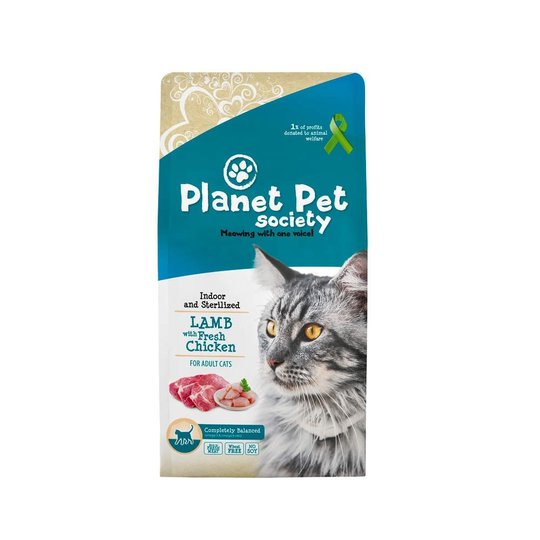 Planet Pet Society Cat Indoor & Sterilized Lamb with Fresh Chicken (7 kg)
