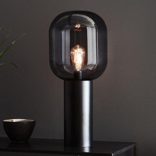 Bordlampe Brooklyn, glass-skjerm røykgrå, 56 cm