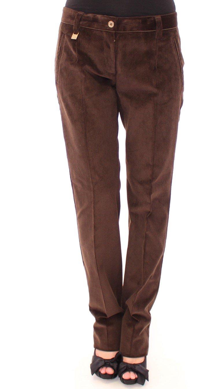 Dolce & Gabbana Women's Corduroys Straight Logo Casual Trouser Brown MOM11601 - IT44|L