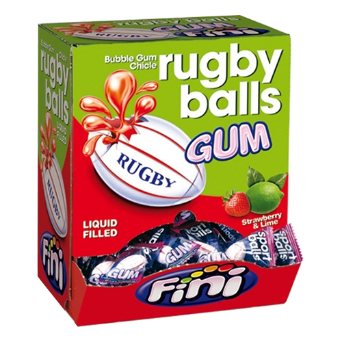 Fini Rugby Sports Balls Bubble Gum - 200-pack