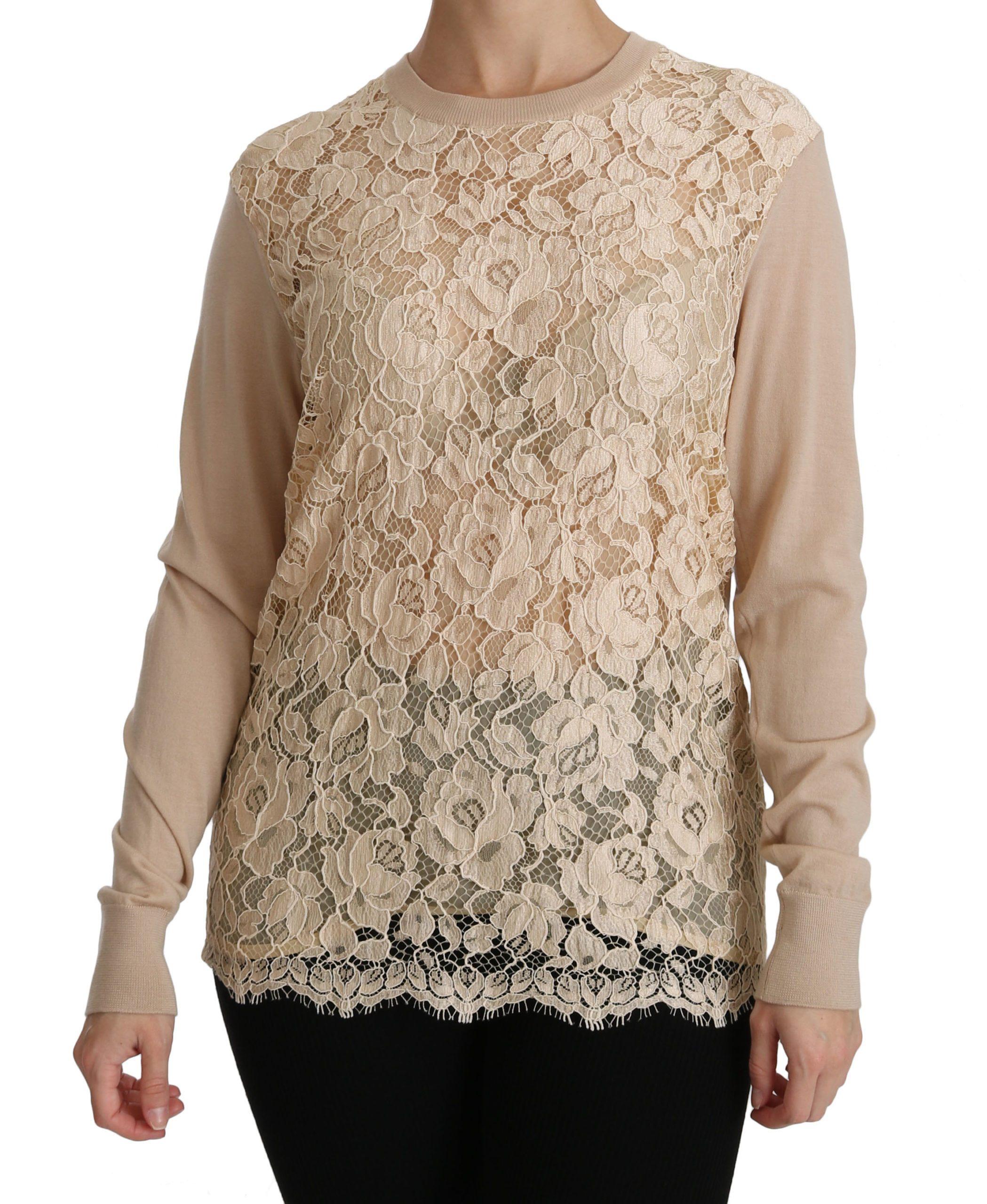 Dolce & Gabbana Women's Lace Long Sleeve Cashmere Beige TSH4250-38 - IT38 XS