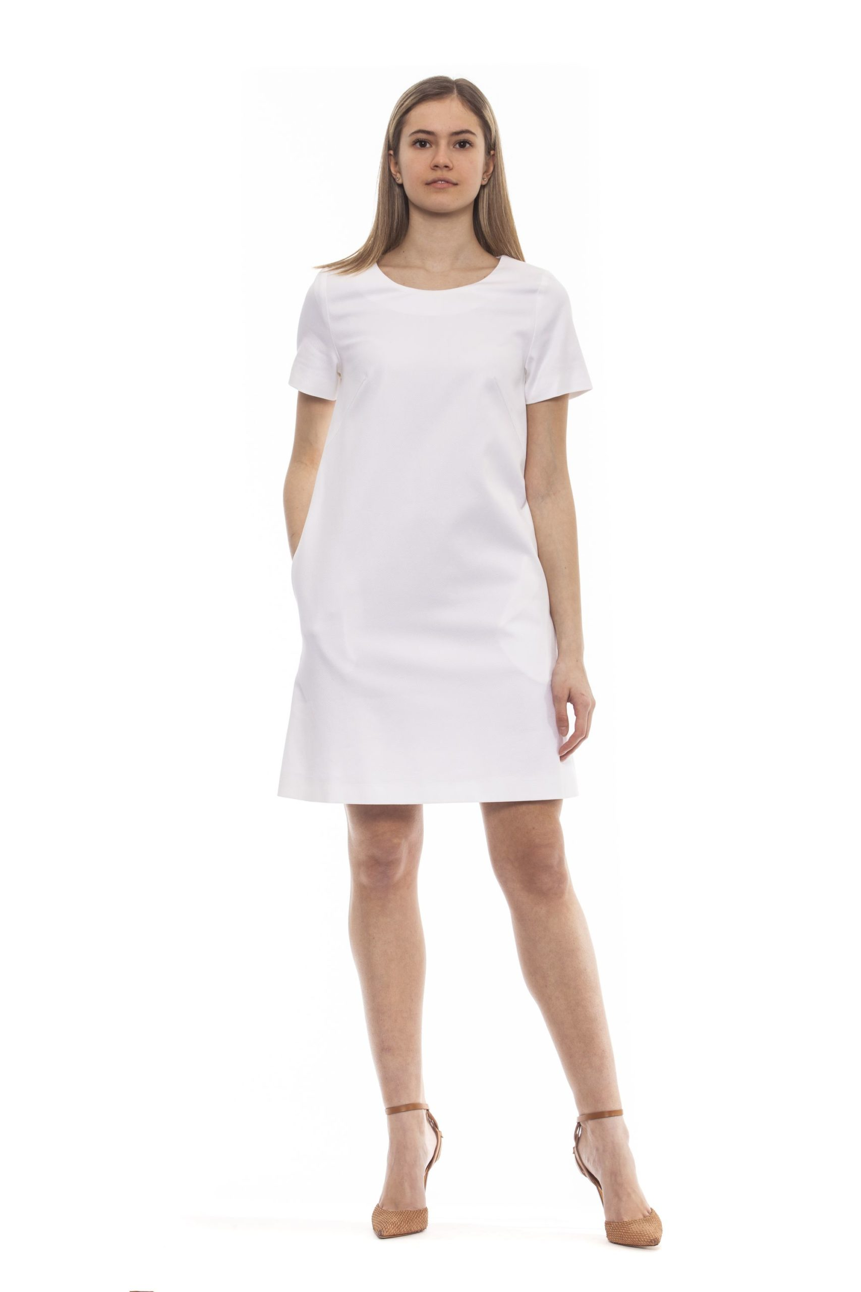 Peserico Women's Bianco Dress White PE1383264 - IT42   S