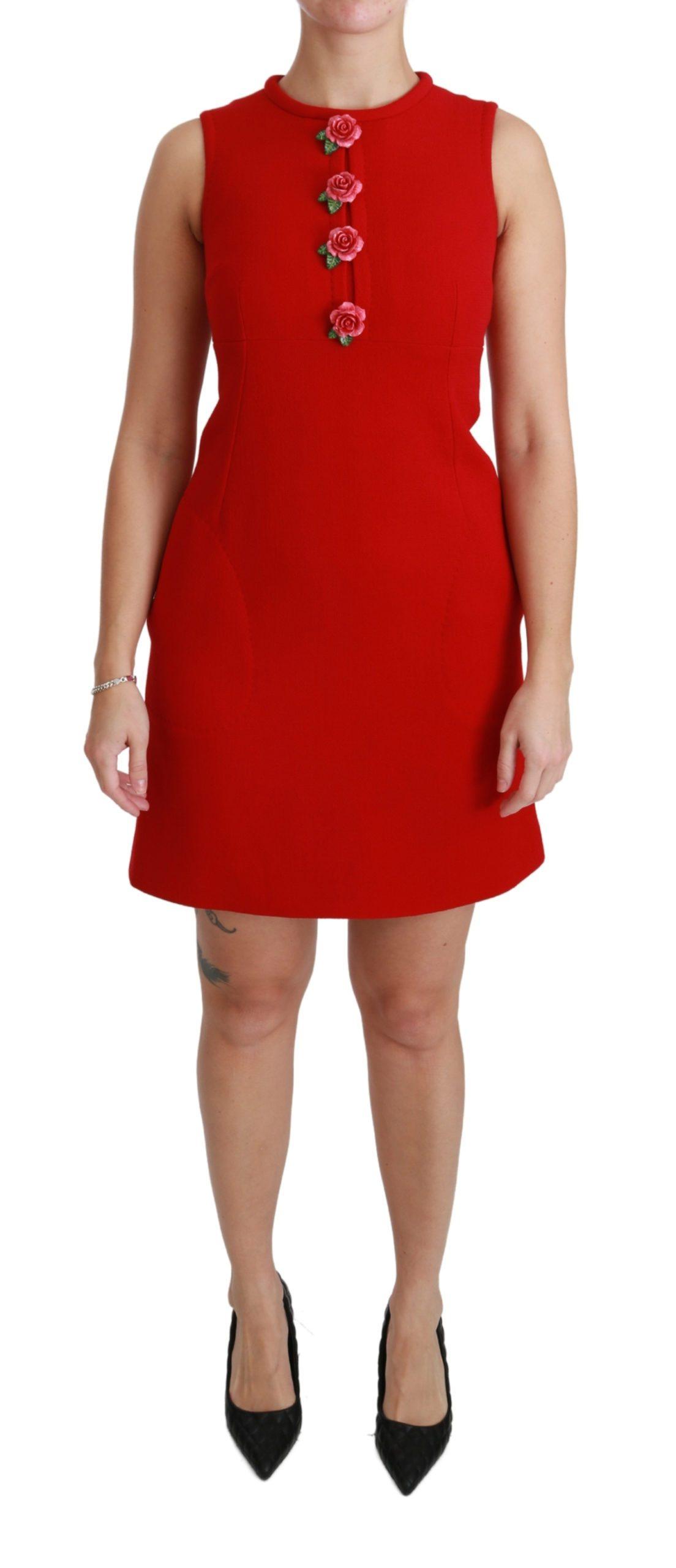 Dolce & Gabbana Women's Wool Roses Shift Mini Gown Dress Red DR2466 - IT46 XL