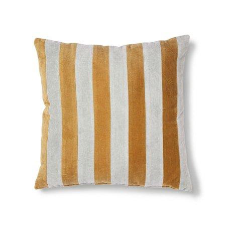 Striped Cushion Velvet Grey/Gold 50x50 cm