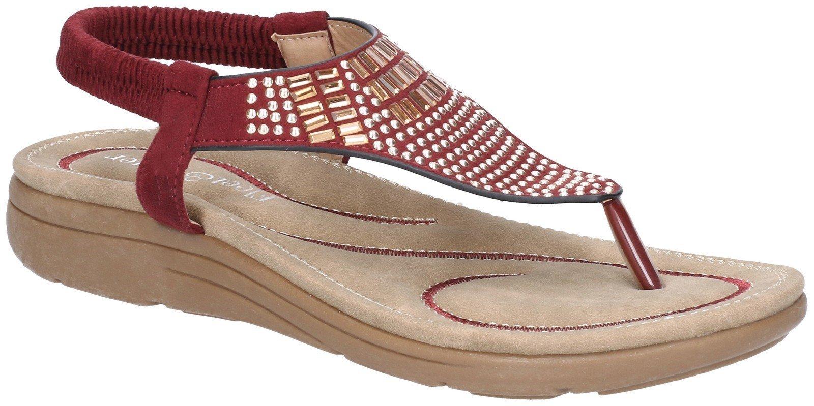 Fleet & Foster Women's Mulberry Elastic Sandal Various Colours 28277 - Bordo 3