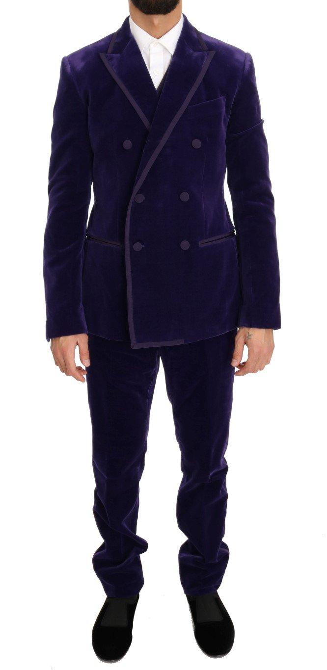Dolce & Gabbana Men's Velvet Slim Fit Double Breasted Suit Purple KOS1056 - IT48   M