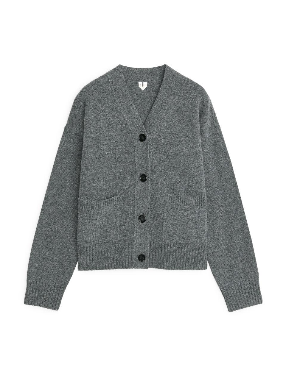 Wool Blend Cardigan - Grey