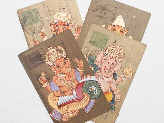Hand-painted Vintage Indian Postcard - Ganesha