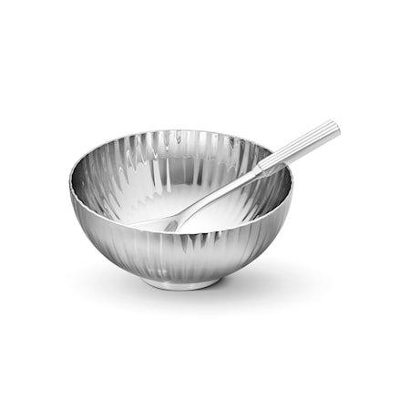 Bernadotte salt skål med skje rustfritt stål