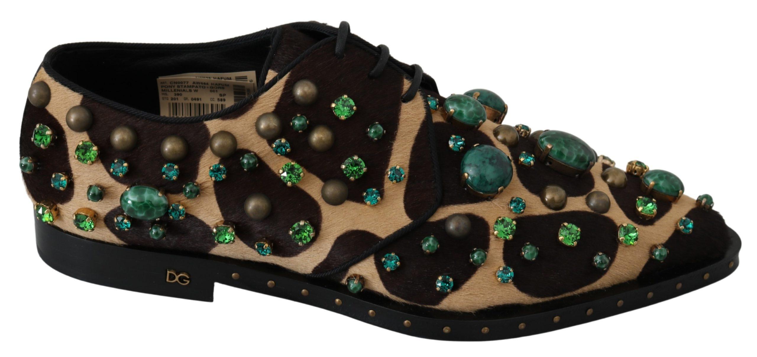 Brown Pony Hair Giraffe Crystal Dress Broque Shoes - EU39/US8.5