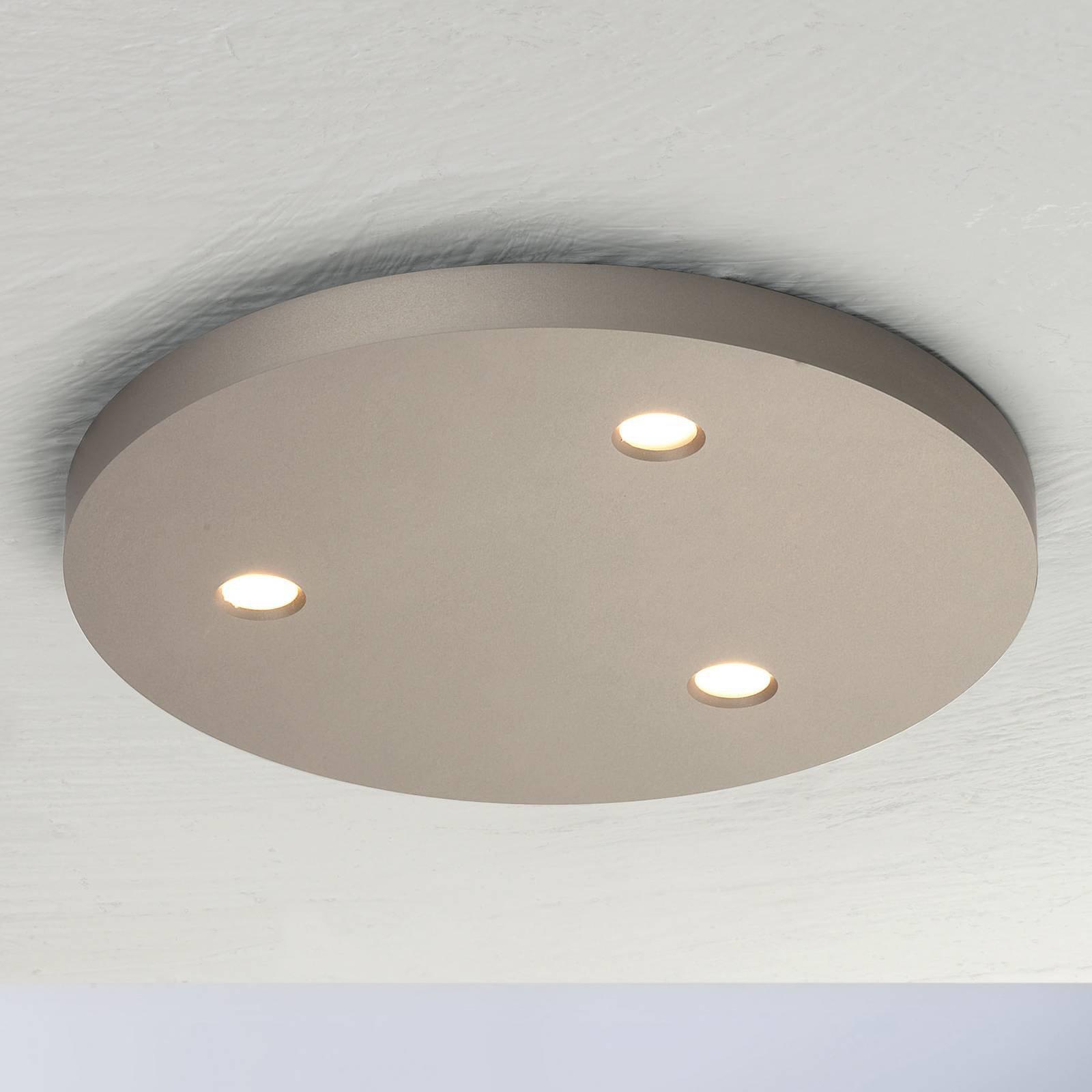 Bopp Close LED-taklampe, tre lyskilder, rund taupe