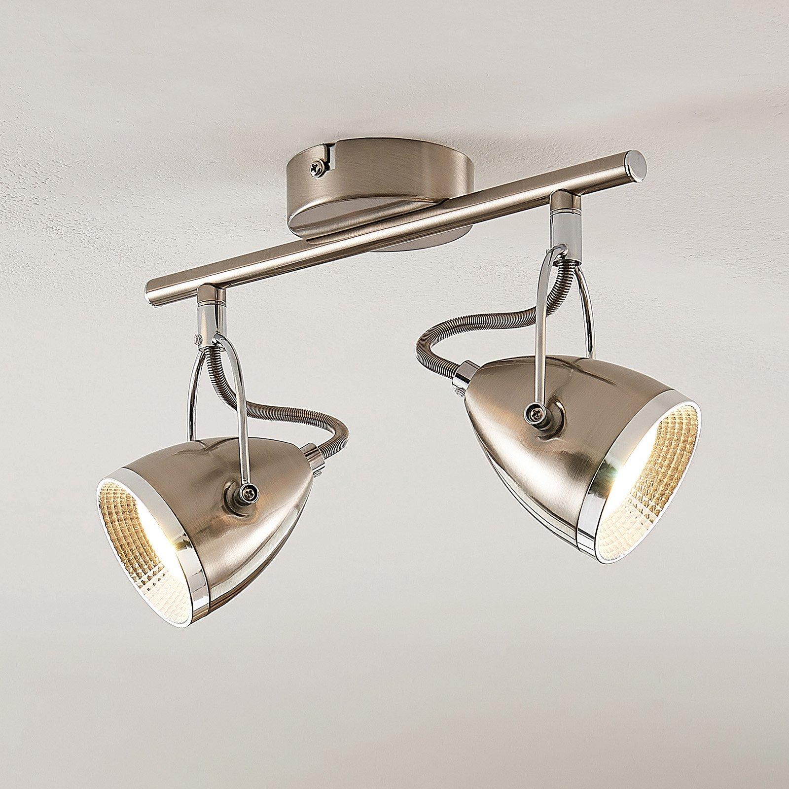 Lindby Jadon LED-takspot nikkel 2 lyskilder