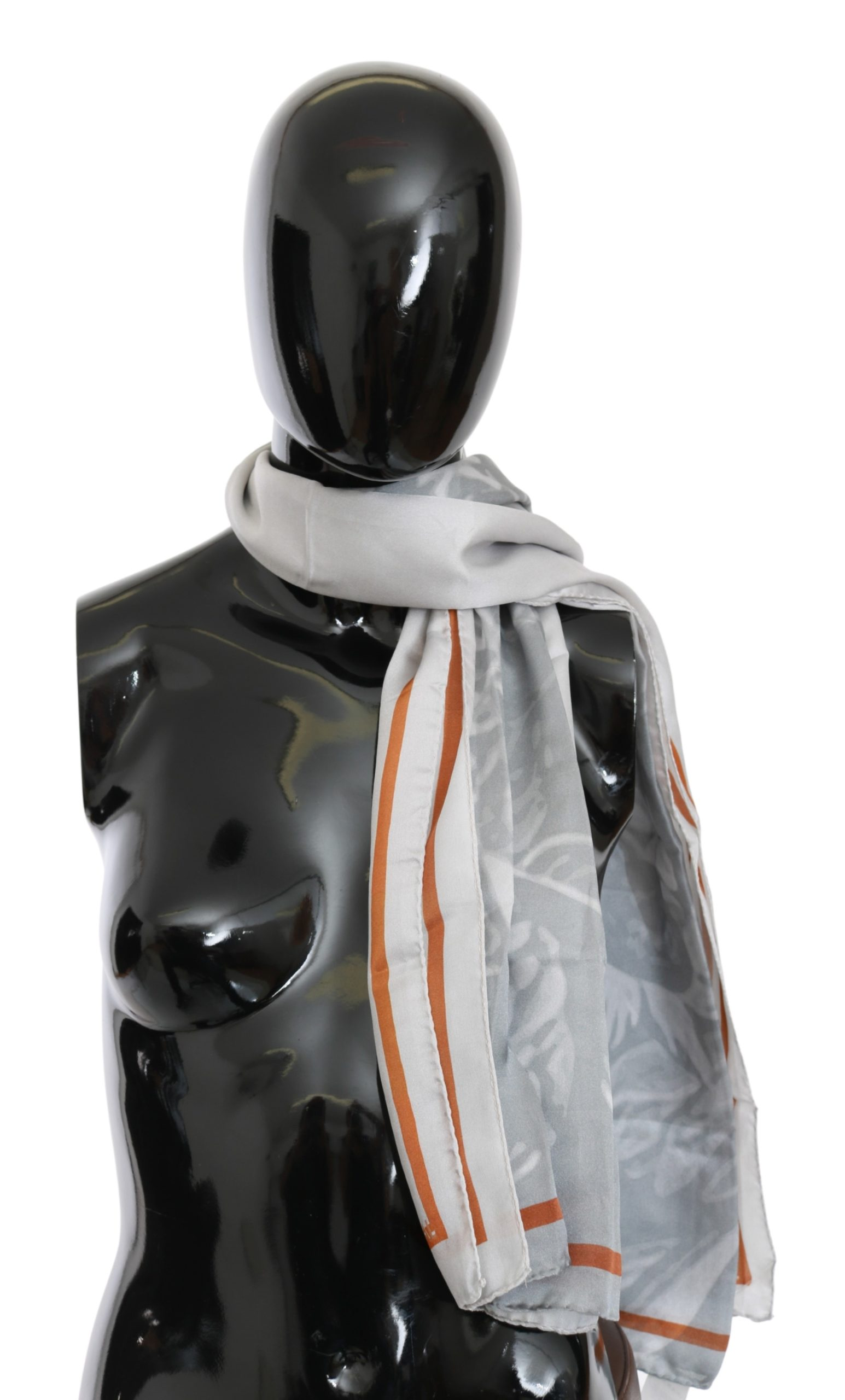 Costume National Women's Silk Foulard Wrap Scarf Gray MS1644