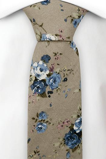 Bomull Smale Slips, Små blå og hvite blomster på beige, Beige, Blomstrete