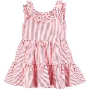 Ralph Lauren Stripe Tiered Seersucker Klänningset Pink/White 6 mån