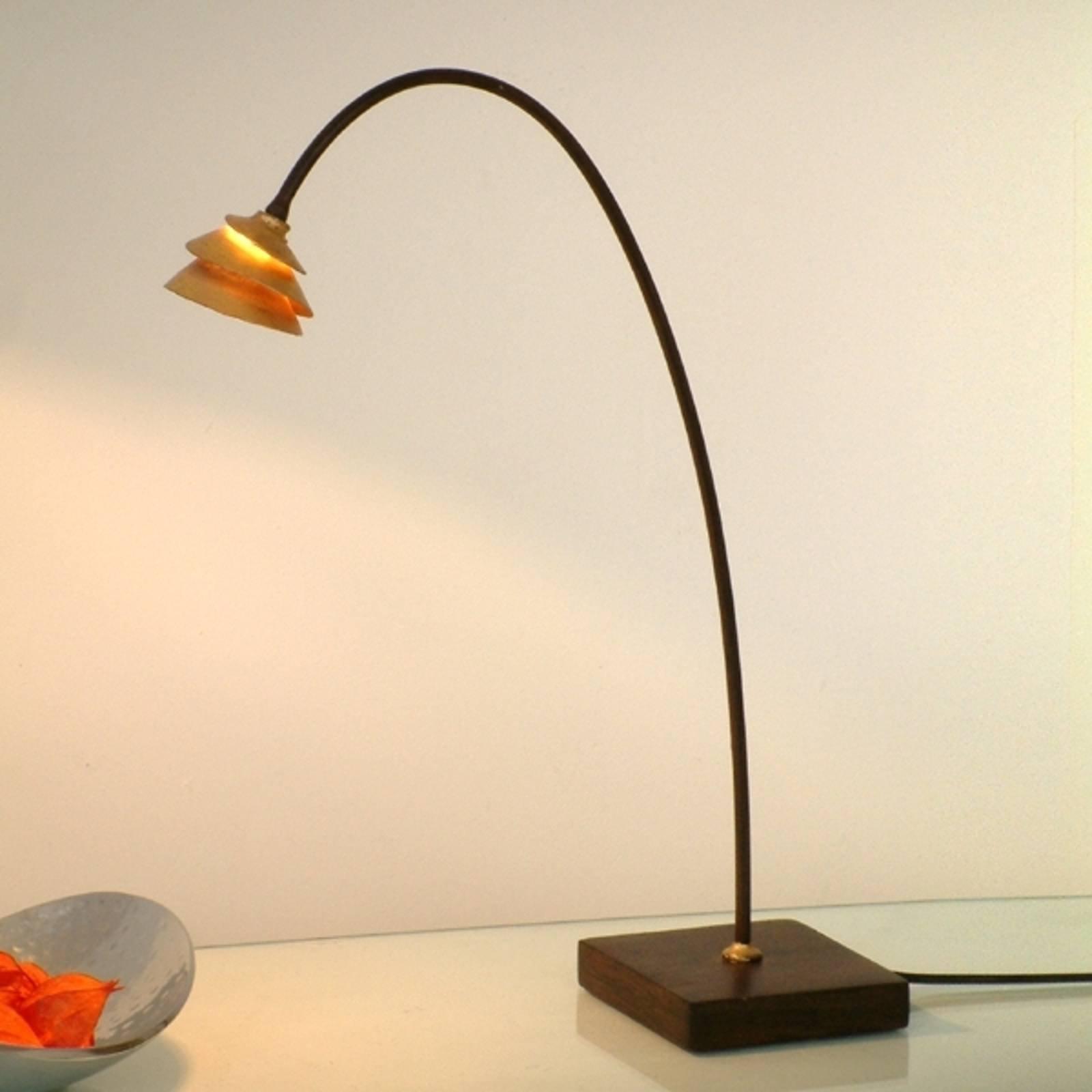 Elegant SNAIL bordlampe av jern, brun gull